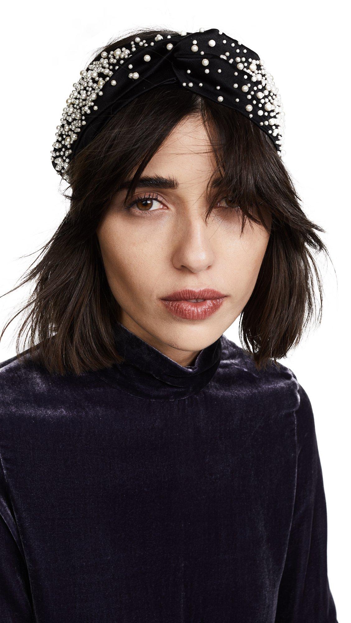 Jennifer Behr Women's Imitation Pearl Encrusted Head Wrap, Black/Pearl, One Size by Jennifer Behr