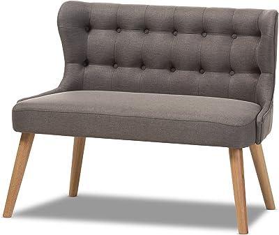 Baxton Studio Parisa Grey Fabric & Natural Wood Finishing 2-Seater Settee Bench