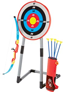 NSG Deluxe Bow and Arrow Set for Kids - Toy Archery Bow with Large Freestanding Target, Suction Cup Arrows, and Quiver