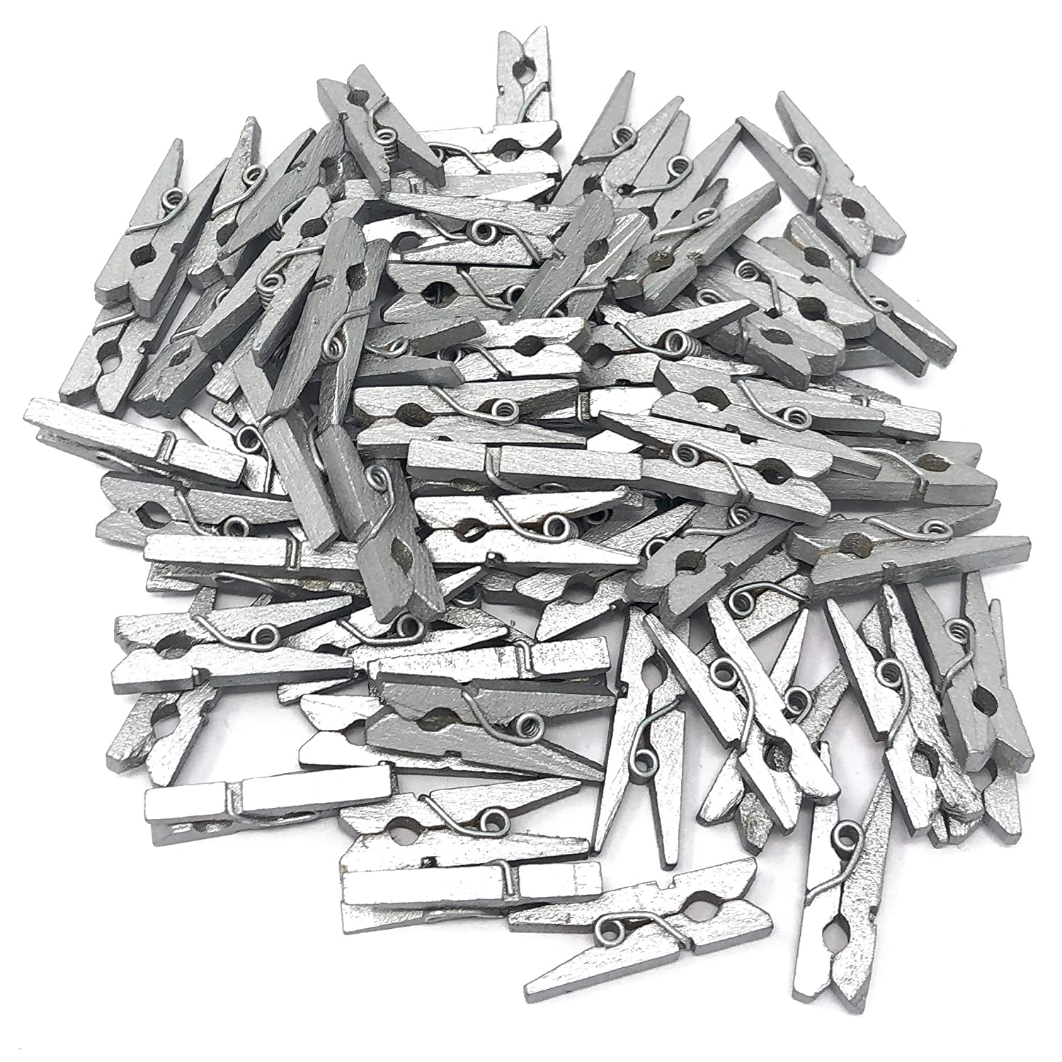 25mm Mini Silver Wooden Clothes Peg Craft For Vintage Wedding Party Decoration Scrapbook 50