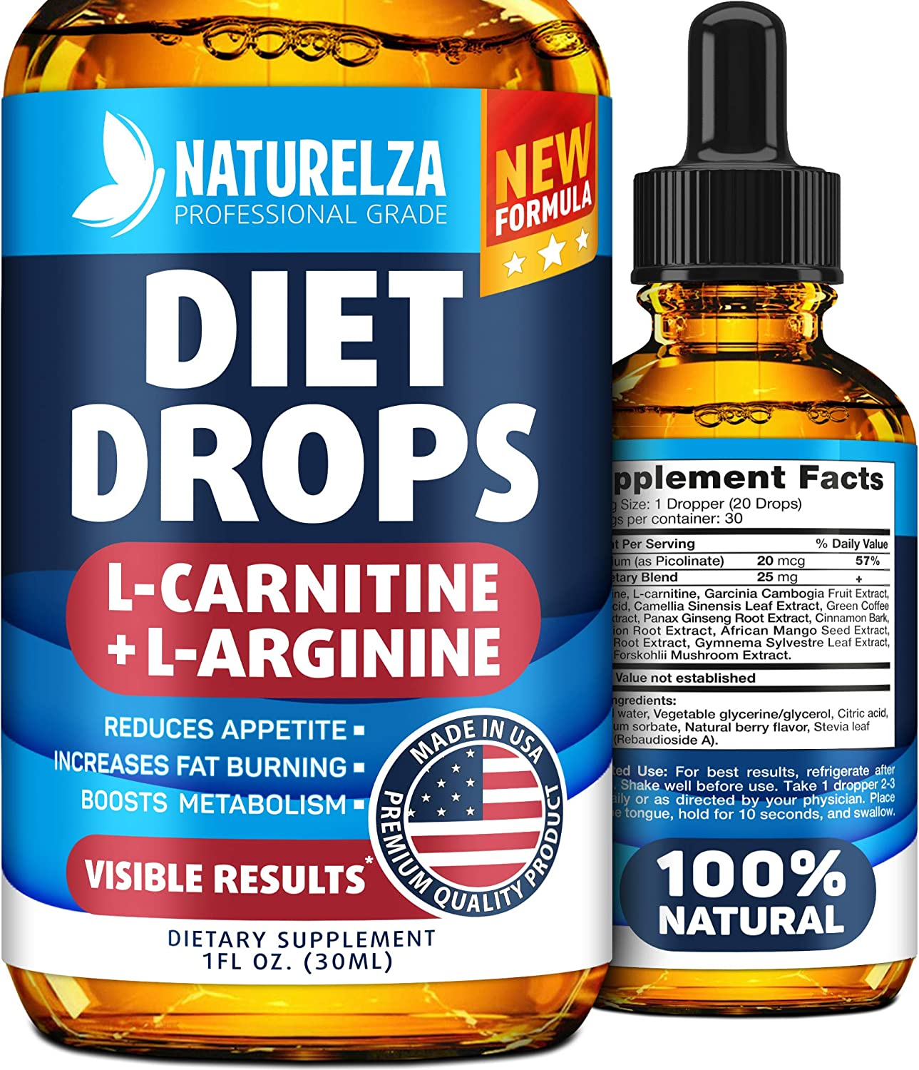 Weight Loss Drops - Made in USA - Best Diet Drops for Fat Loss - Effective Appetite Suppressant & Metabolism Booster - 100% Natural, Safe & Proven Ingredients - Non GMO Fat Burner - Garcinia Cambogia: Health & Personal Care