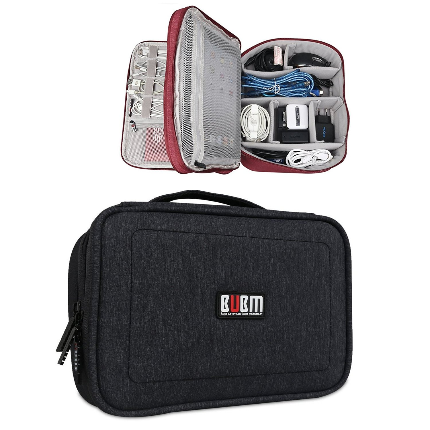 BUBM Multi-function Case Waterproof Handbag Travel Gear Organizer Electronics Accessories Bag Phone Charger Cable Sleeve Pouch (Black,Large)