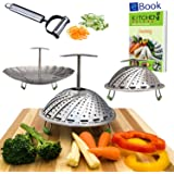 Instant Pot Vegetable Steamer Basket - EXTENDABLE HANDLE - LARGE - Fits 5/6/8 Quart Pressure Cooker - 100% Stainless Steel - BONUS Accessories - eBook + Julienne Peeler - Steam Food - Use as Egg Rack