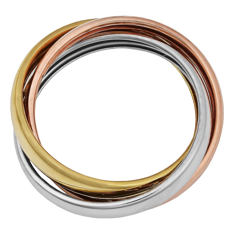 Kooljewelry 14k Tricolor Gold High Polish Rolling Ring