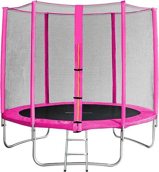 SixBros. SixJump 2,45 M Trampolín Cama elástica de jardín Fucsia - Escalera - Red de Seguridad - Lluvia Cobertura TP245/1610: Amazon.es: Deportes y aire libre