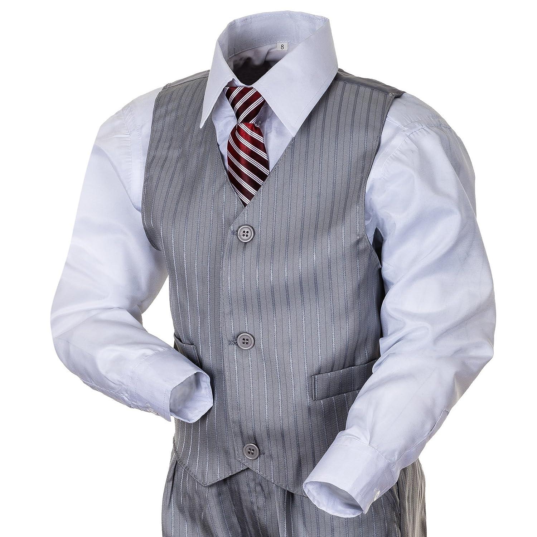 Krawatte freshdress24 Kinderanzug Tim 5-TLG schwarz Sakko Weste Hose hellgrau u Hemd u in blau