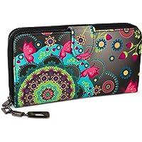 styleBREAKER Geldbörse mit Ethno Blumen und Blüten Muster, Vintage Design, Reißverschluss, Portemonnaie, Damen 02040040