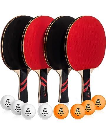 Ping Pong Paddle Set of 4 - Pro Wood Ping-Pong Paddles and 8 Light b444109ad7