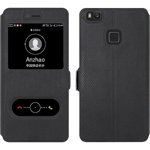 14 opinioni per Huawei P9 Lite Custodia , Anzhao Flip Cover [Chiusura magnetica] Con Finestra