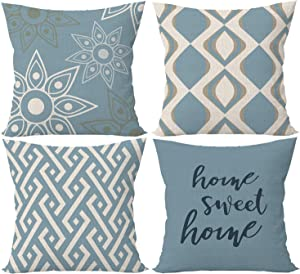 SIBOSUN Decorative Pillow Covers 18x18 inches,Set of 4 Modern Geometric Striped Throw Pillow Covers Cushion Case Decorative Outdoor Linen Fabric Pillow Case for Living Room,Sofa, Bed Decor Light Blue
