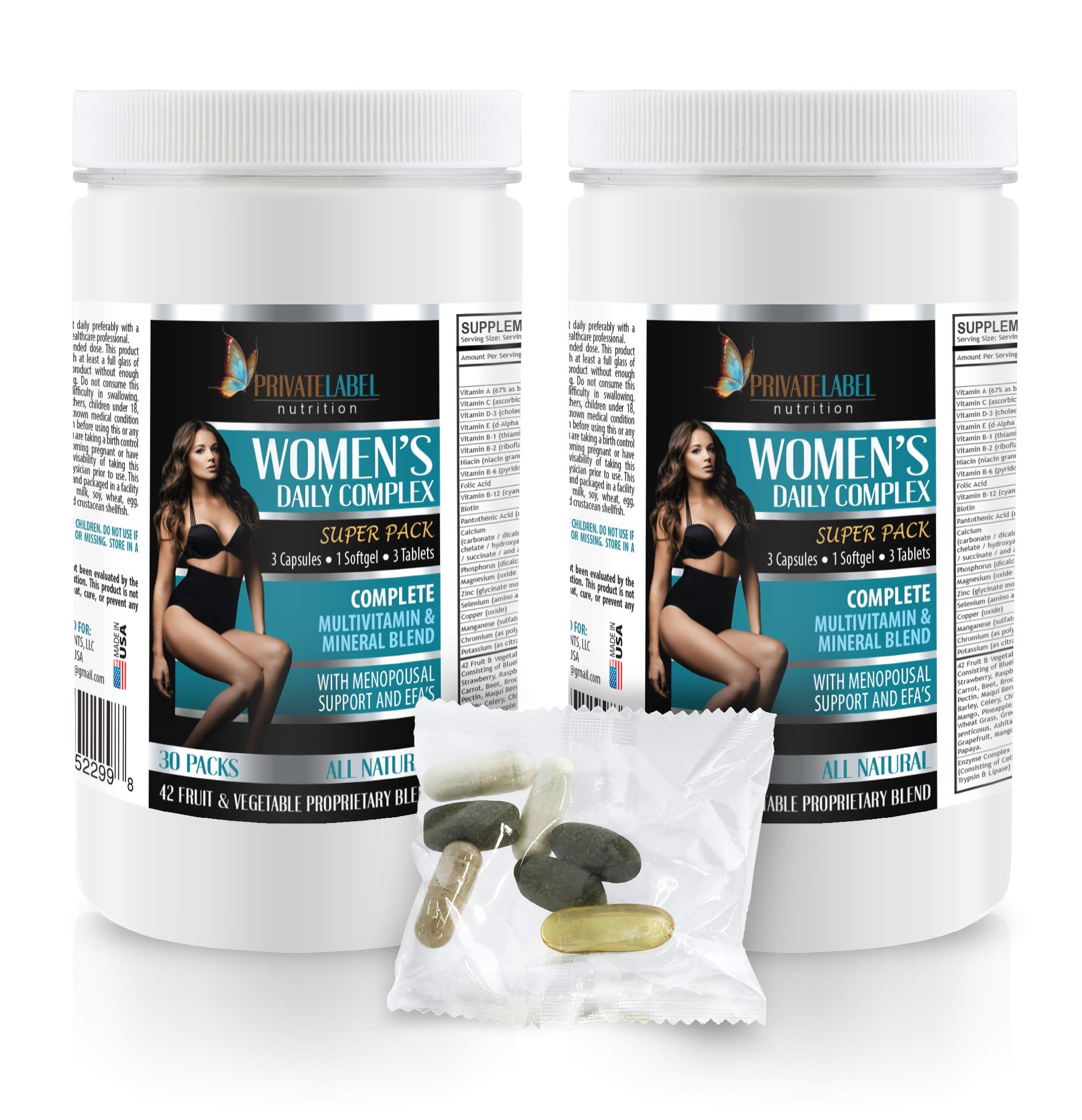 Female Energy Supplement - Women's Daily Complex - Super Pack - folic Acid and zinc for Women - 2 Cans 60 Packs (420 Pills) by PRIVATE LABEL LLC (Image #1)