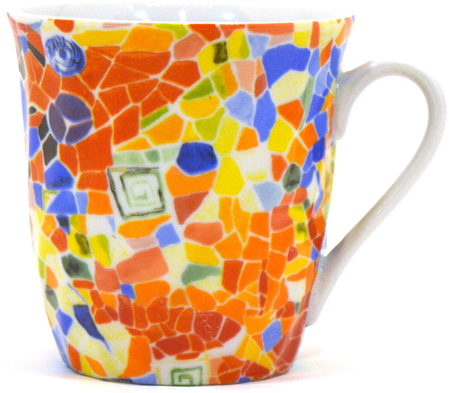 Amazon.com: ART ESCUDELLERS Porcelain Cup with Handle NEVA/Mug Abril Decorated in TRENCADIS Gaudí Style. (Colour Aurora). 4.72 x 3.74 x 3.54: Home & ...