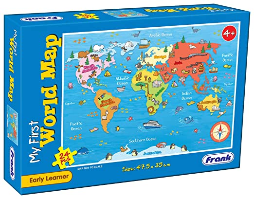 Buy Frank My First World Map Puzzle – 35 x 47.5 cm, 24 Pieces - Early Learner Large Educational Jigsaw Puzzle with Continents, Oceans, Animals   Ages 4 & Above   Educational
