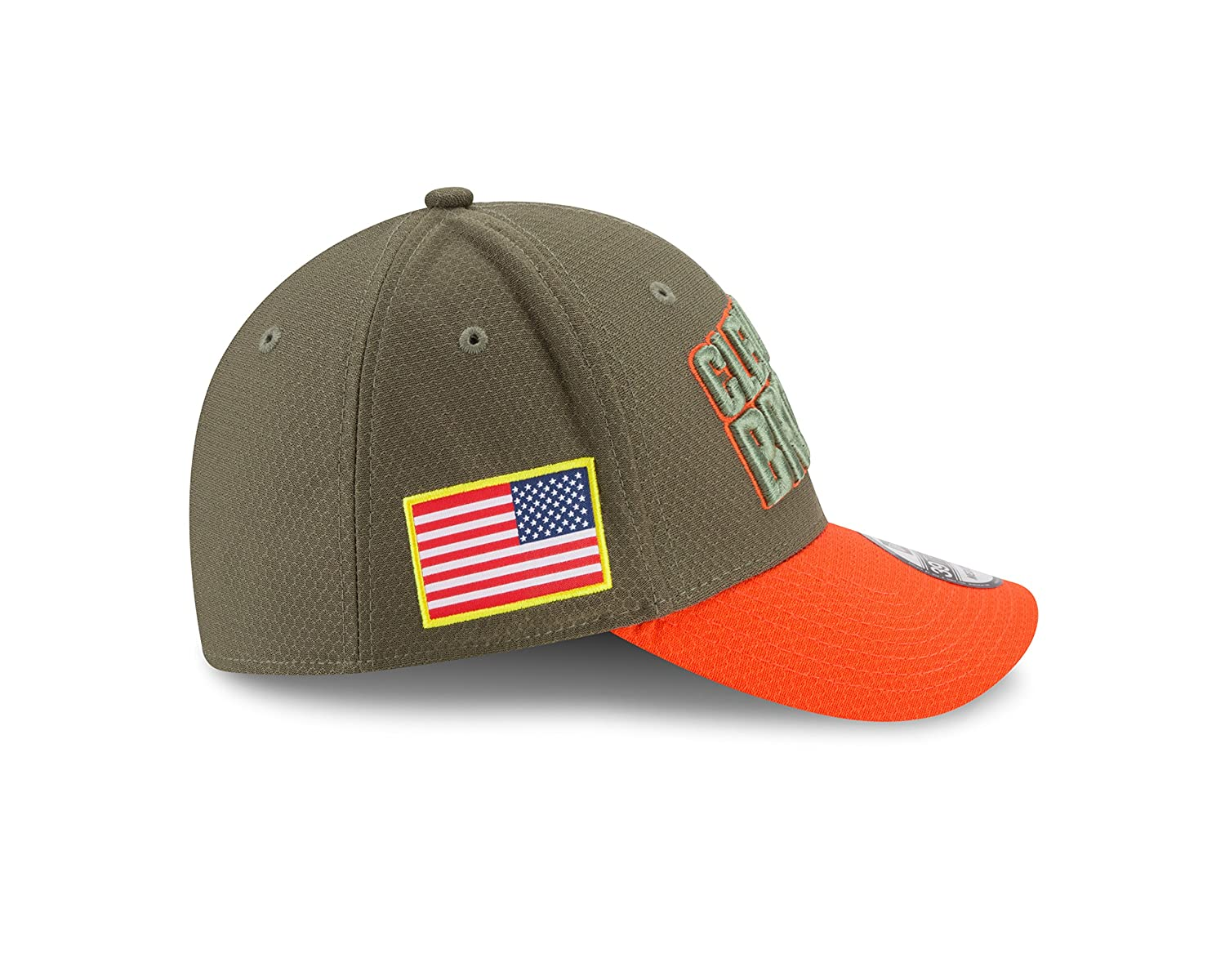 cf3e561673a Amazon.com   Cleveland Browns New Era 2017 Salute To Service 39THIRTY Flex  Hat - Olive   Sports   Outdoors