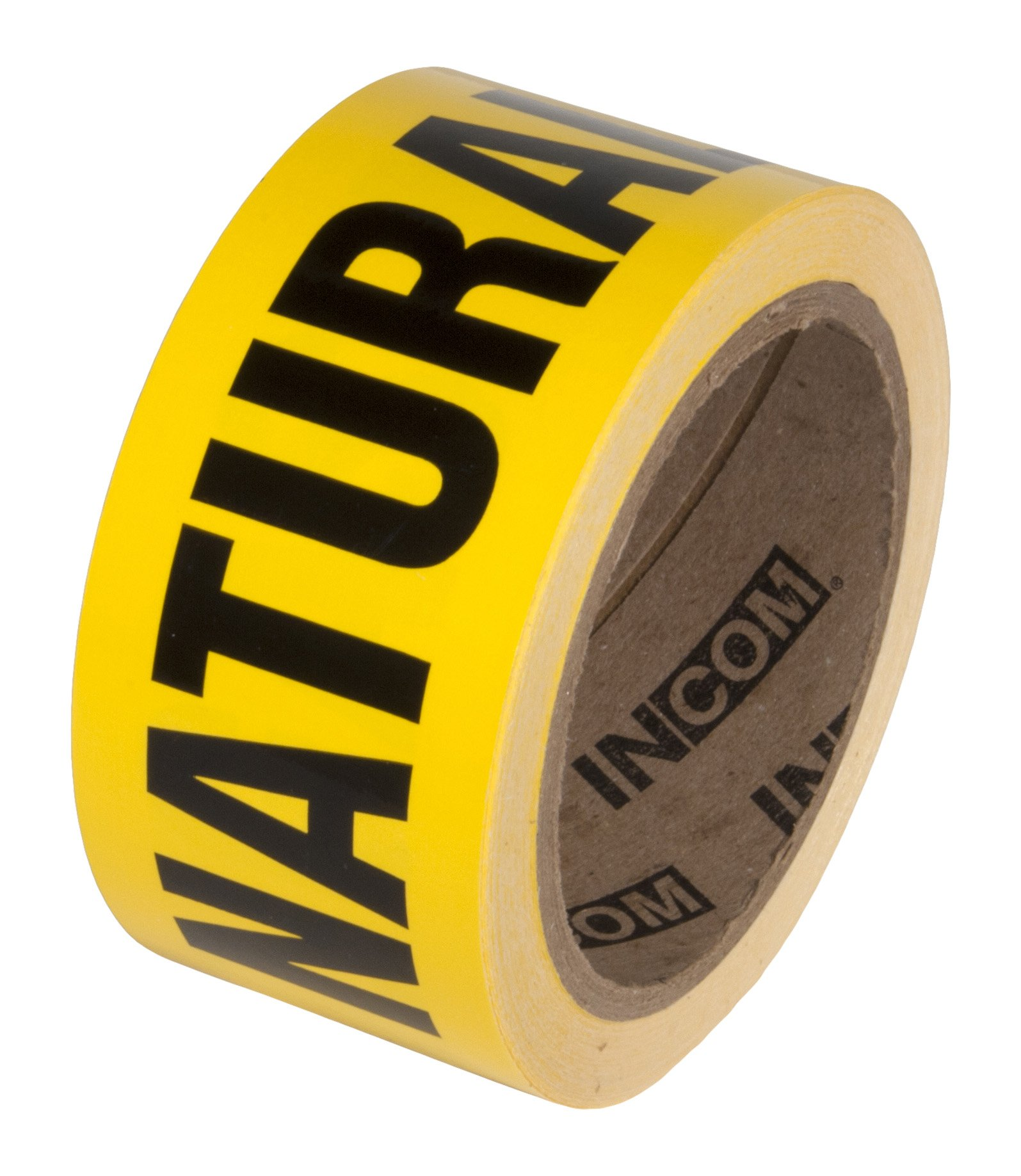 INCOM Manufacturing: Worded Pipe Marking Tape, 2'' x 54', ''NATURAL GAS''
