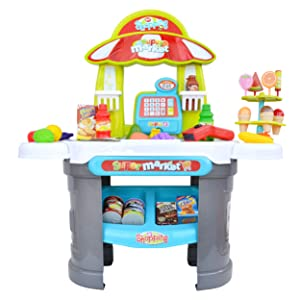 Kids Play Grocery Store Mart Cashier Play Set - Supermarket Play Pretend Grocery Shopping Register Counter Stand for Toddlers Includes Play Food, Canned Goods, Toy Scanner, and Play Money