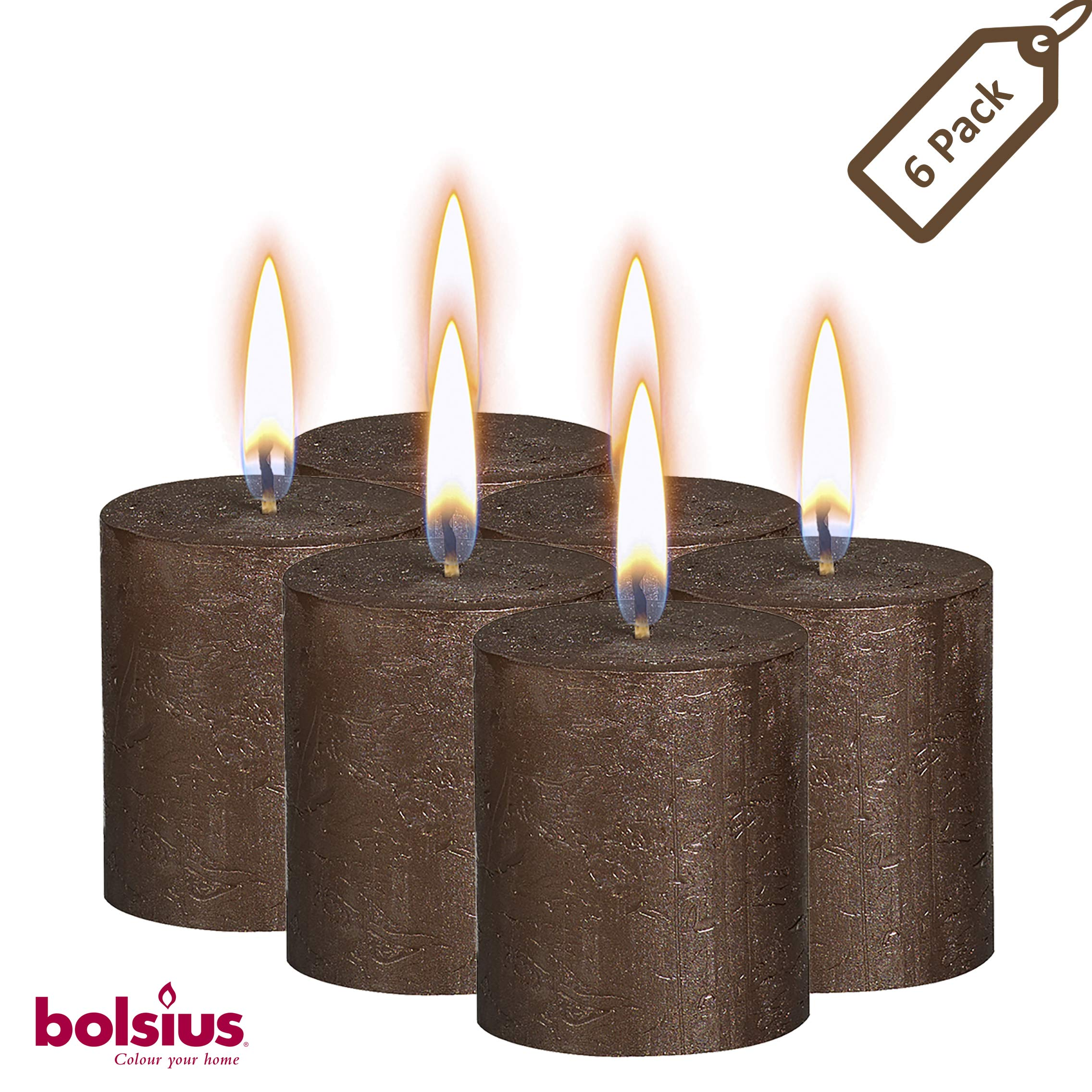 BOLSIUS Rustic Full Metallic Brown Copper Candles - Set of 6 Unscented Pillar Candles - Brown Copper Candles with a Full Metallic Coat - Slow Burning - Perfect Décor Candle - 80/68m 3.25X 2.75 Inches