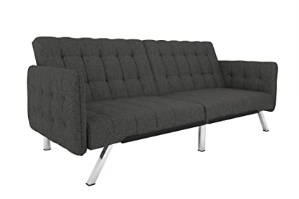 DHP Emily Convertible Futon And Sofa Sleeper, Modern Style With Tufted  Cushion, Arm Rests