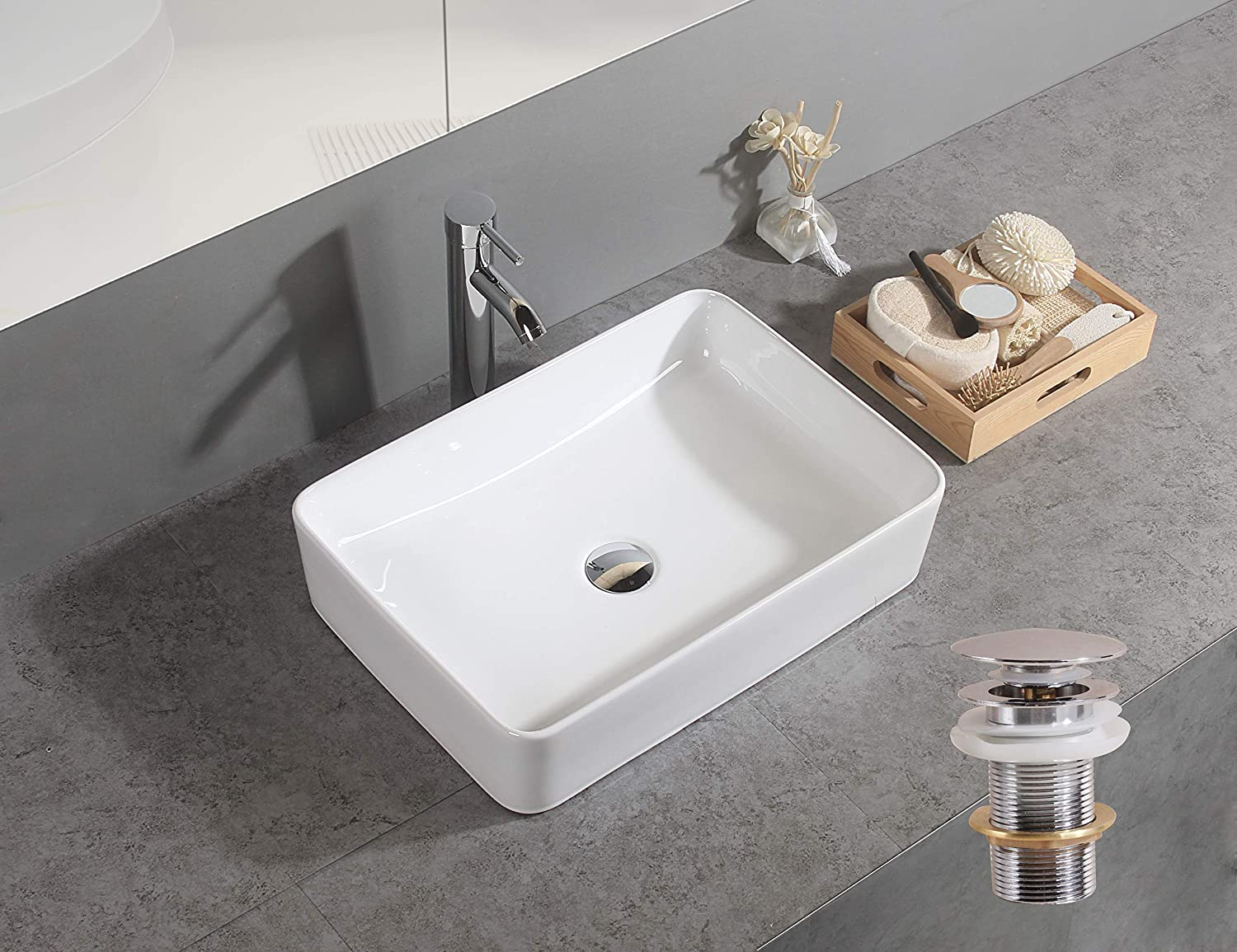 Chrome Bottle Trap Basin Sink Waste Bathroom Sink Pipe and Unslotted Click Clack Basin Waste Pop Up Waste Without Overflow