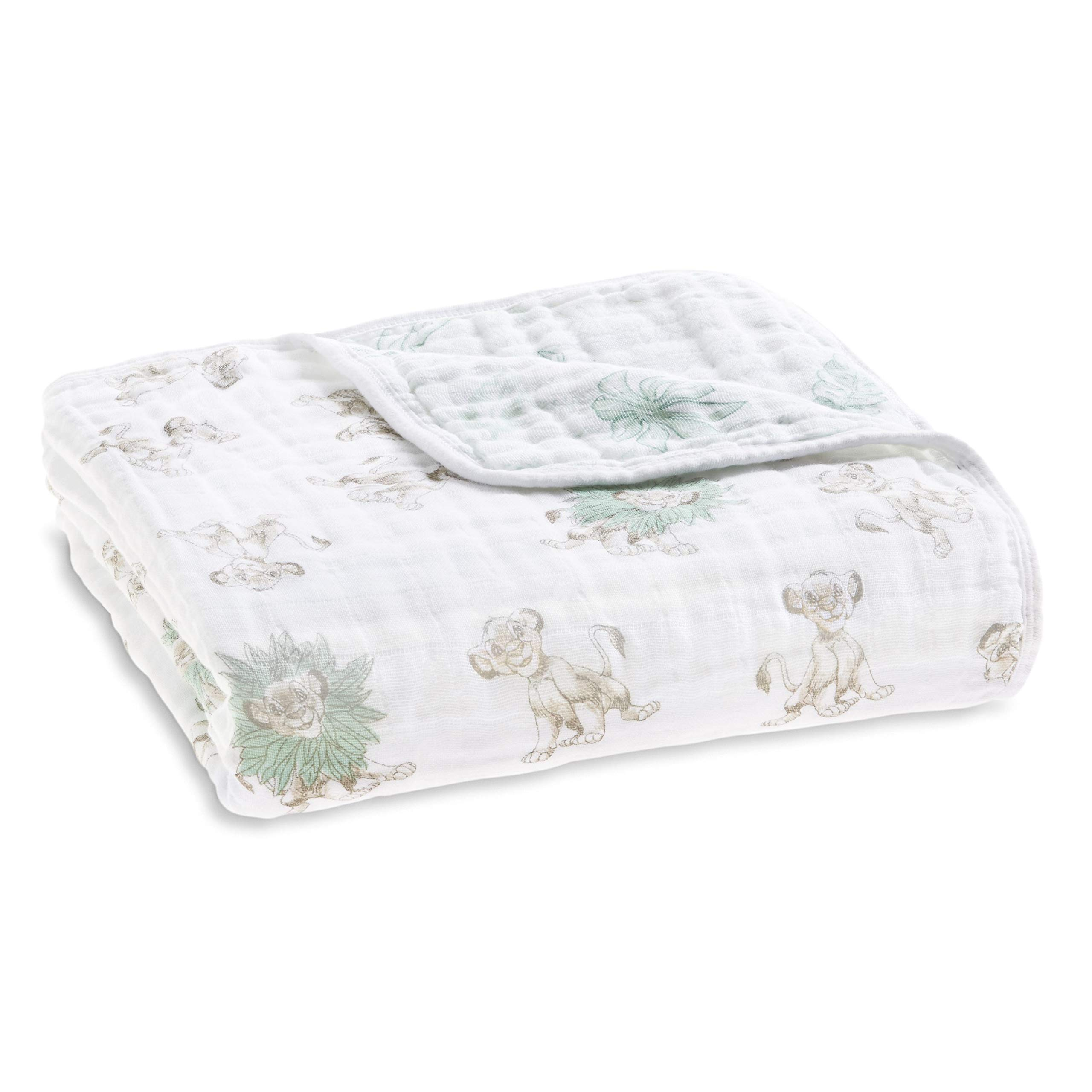 aden + anais Dream Blanket, 100% Cotton Muslin, 4 Layer Lightweight and Breathable, Large 47 X 47 inch, Lion King