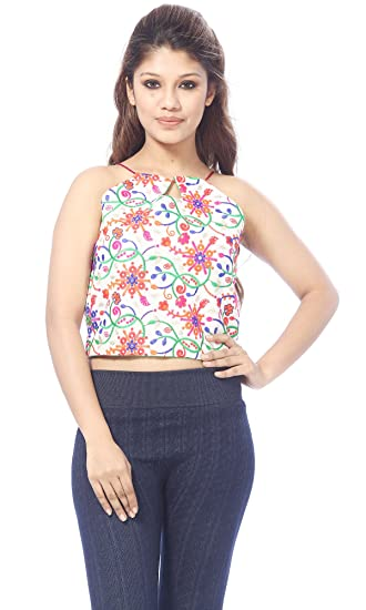 7770e5b2b16bf Abony Women s White Multicolor Embroidery Crop Top Specially For  Navratri(Size S)