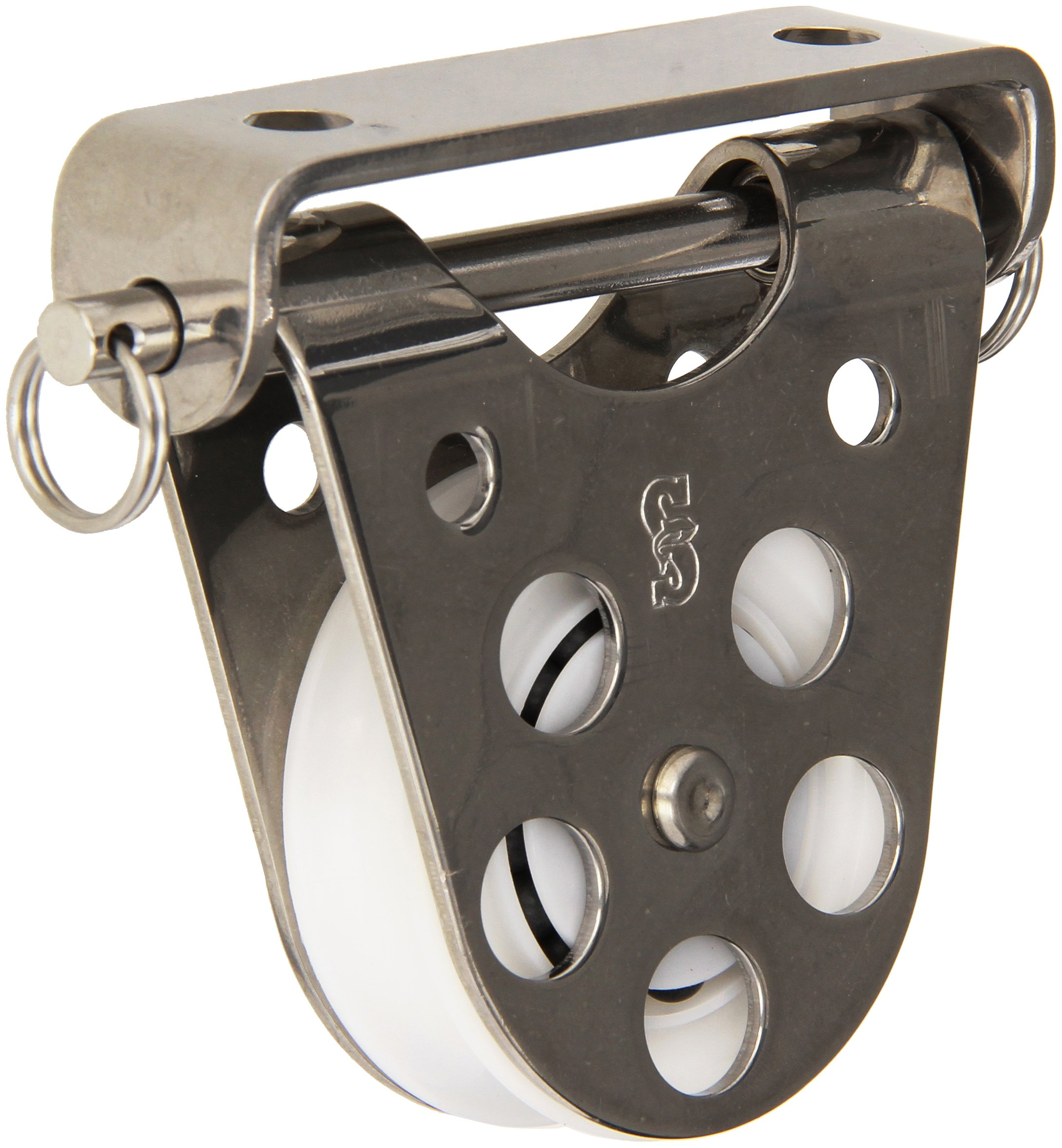 Schaefer Hinged Fairlead Block with Stainless Steel Cheeks and Delrin Ball Bearing Sheave