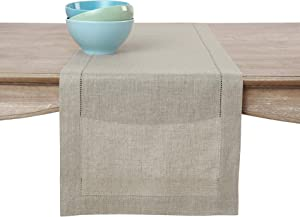 Solino Home 100% Pure Linen Table Runner – 16 x 72 Inch, Hemstitched Runner – Natural, European Flax Natural Fabric