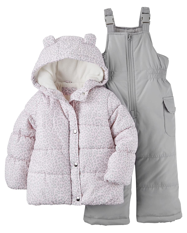 08b958dba35a Amazon.com  Carter s Baby Girl Leopard Snowsuit Set (Grey