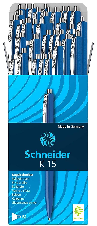 Schneider K15 Druckkugelschreiber dokumentenechte Mine - Strichst/ärke M, Schreibfarbe: schwarz 50 St/ück schwarz