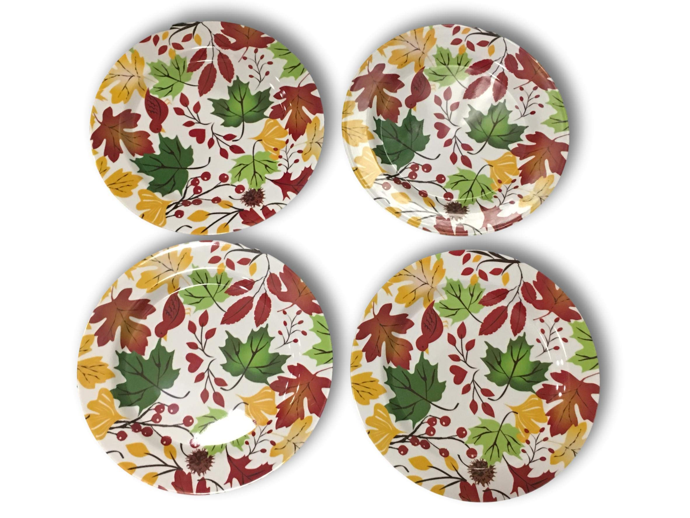 Fall Melamine Plate Set of 4 -Be Thankful Pumpkins & Sunflowers or Falling Leaves (Falling Leaves & Holly Berries)