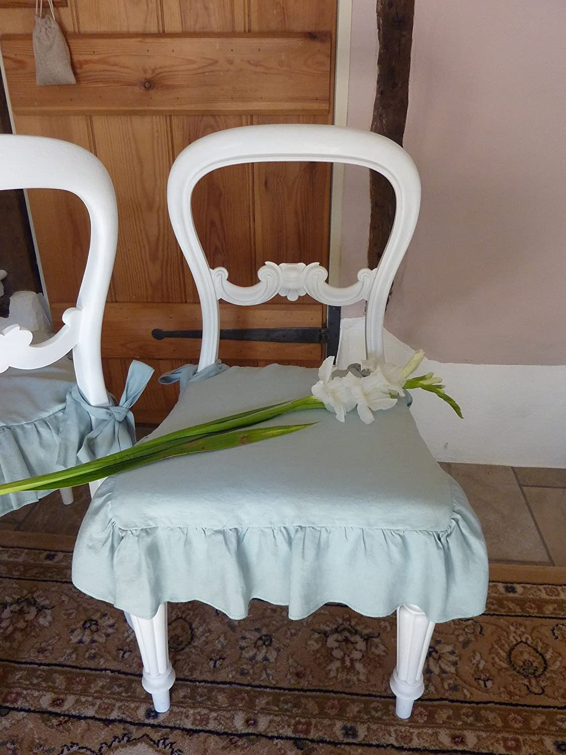 Amazon.com: Seat Cover, Linen Chair Cover, Ruffled Chair Cover, Linen Slip  Cover, Farmhouse Decor. Shabby Chic: Handmade