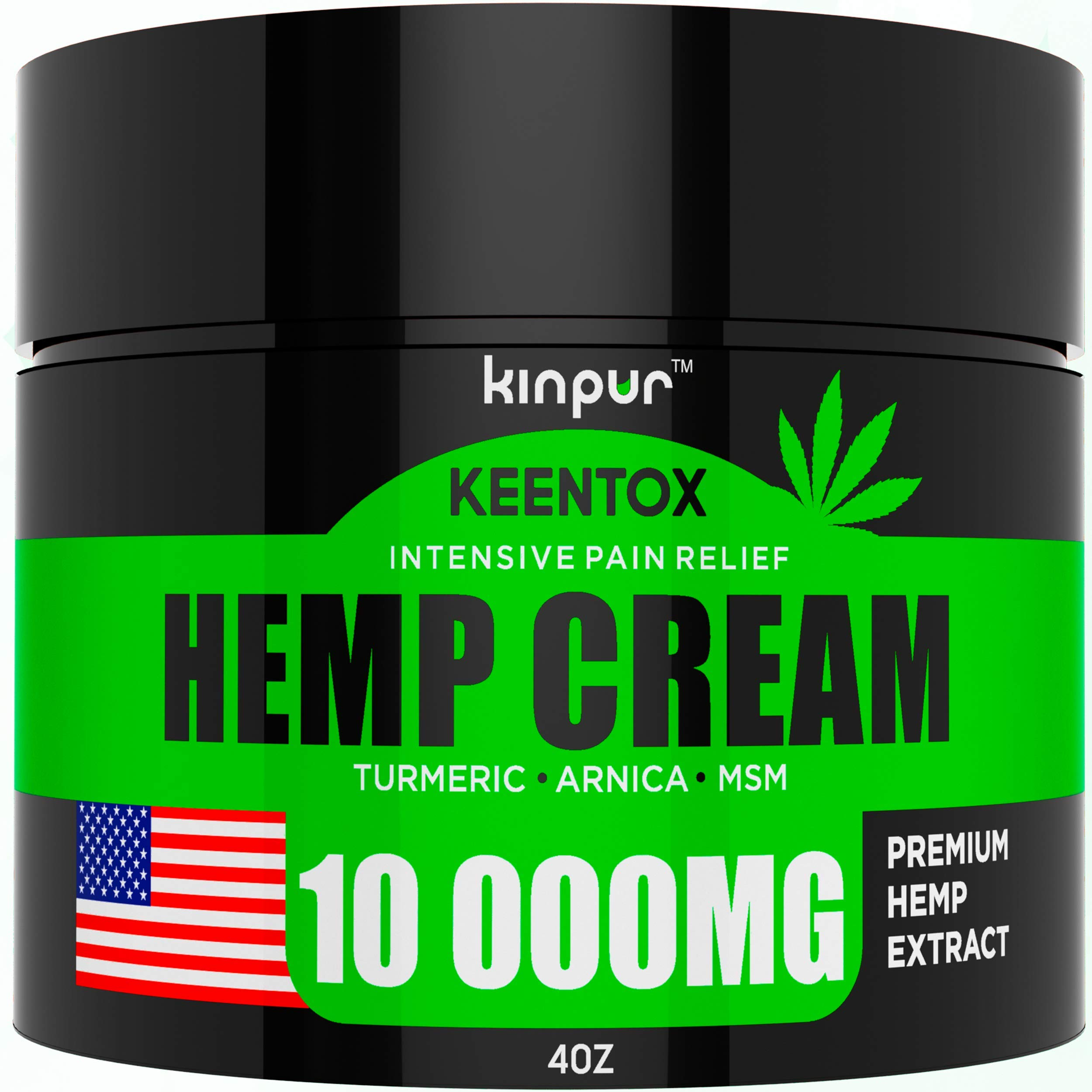 Hemp Pain Relief Cream - 10 000MG - Relieves Muscle, Joint Pain, Lower Back Pain, Knees, and Fingers - Inflammation - Hemp Extract Remedy - Hemp Oil with MSM - EMU Oil - Arnica - Turmeric Made in USA by Kinpur