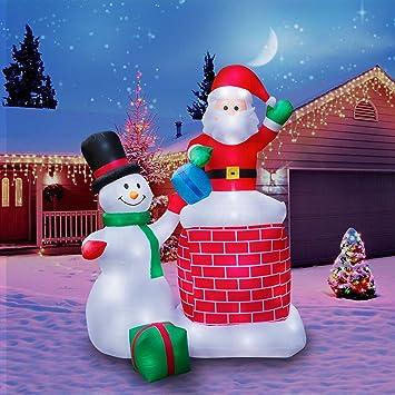 holidayana christmas inflatable giant 10 ft santa claus snowman duo christmas inflatable featuring lighted