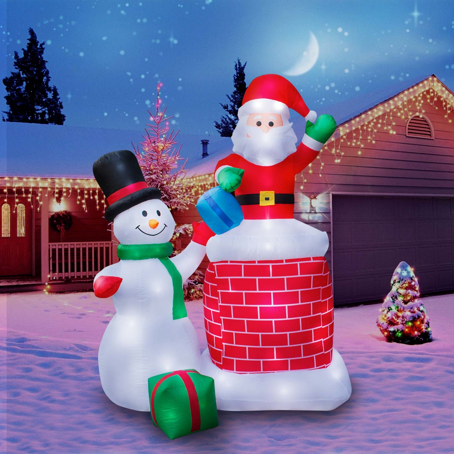 Holidayana Christmas Inflatable Giant 10 Ft. Santa Claus & Snowman Duo Christmas Inflatable Featuring Lighted Interior/Airblown Inflatable Christmas Decoration With Built In Fan And Anchor Ropes by Holidayana