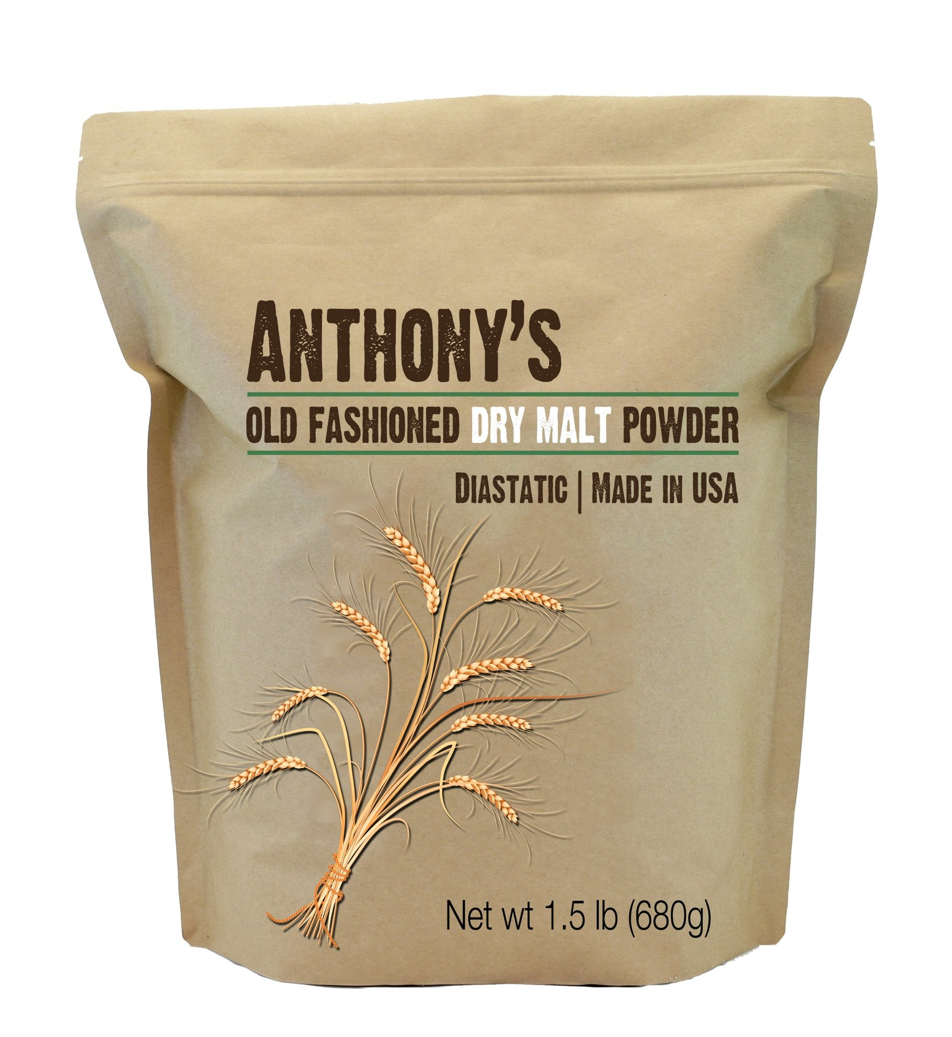 Dry Malt Diastatic Baking Powder (1.5lbs) by Anthony's, Made in the USA (1.5 Pounds)