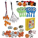 Prize Box Toys Assortment for Kids - 100-Piece Sports Themed Bulk Party Favor Treasure Chest Items for Classroom Rewards…