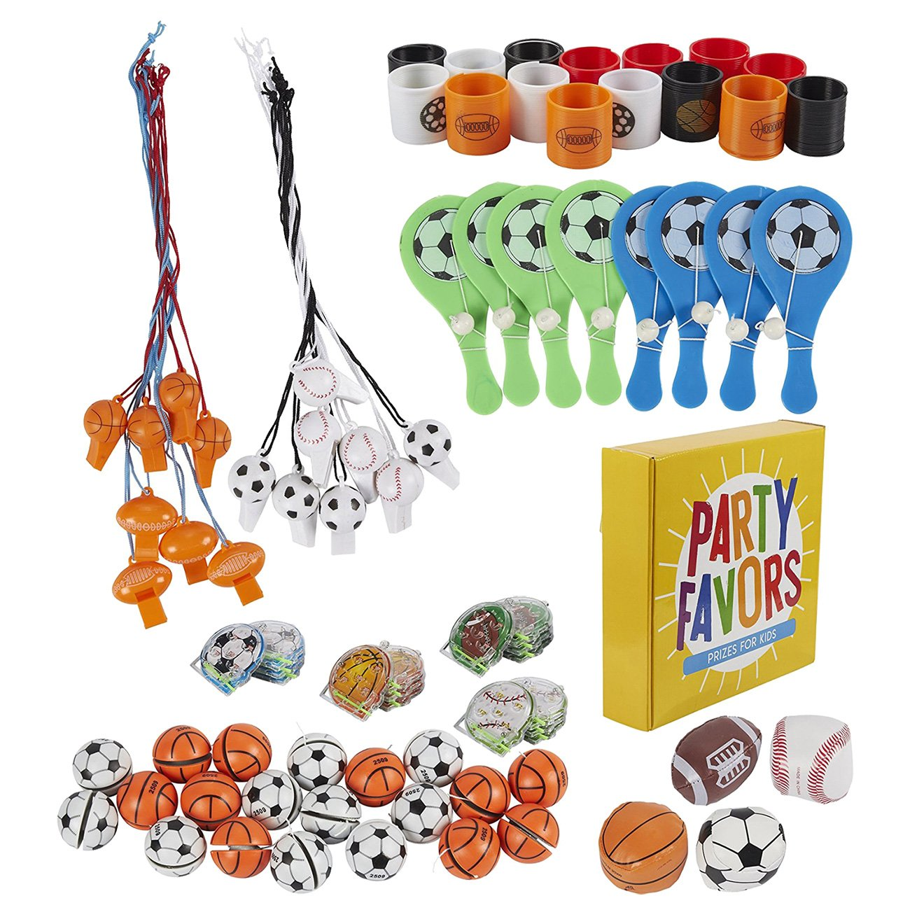 Prize Box Toys Assortment for Kids - 100-Piece Sports Themed Bulk Party Favor Treasure Chest Items for Classroom Rewards, Pinata Filler, Birthday Goodie Bags for Boys and Girls by Blue Panda