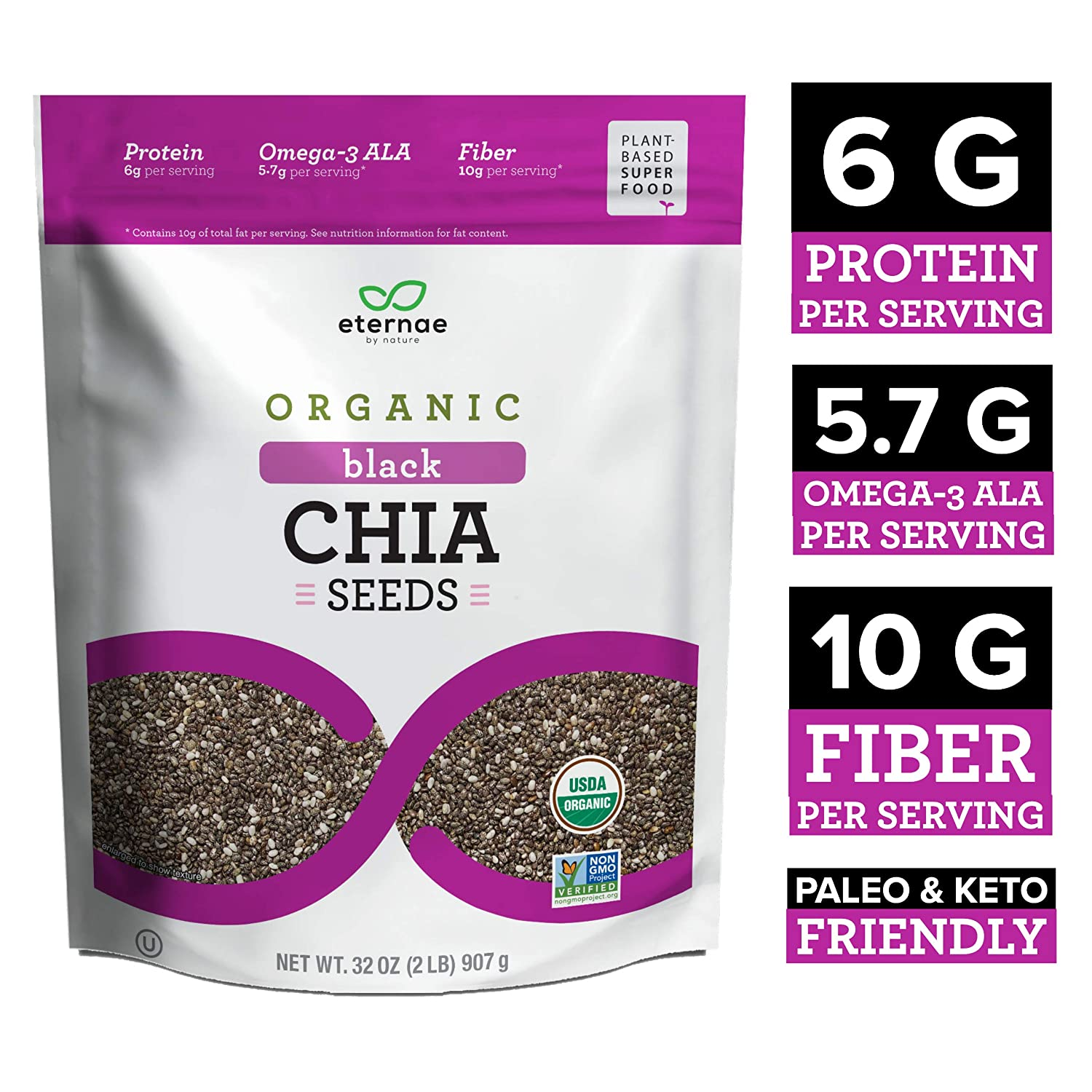 Eternae By Nature Organic Black Chia Seeds, 32 Oz - Keto, Vegan, Non-Gmo, Gluten-Free - Contains Omega-3S, Fiber & Protein - Baking, Smoothies, ...