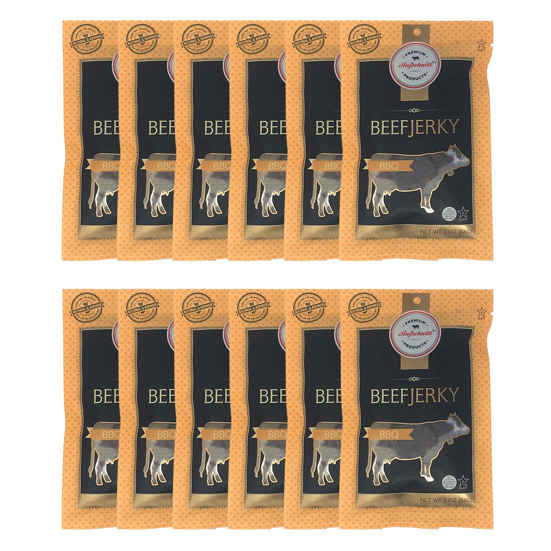 Aufschnitt Beef Jerky - Barbecue - 12 pack (2 oz each) - Kosher, Glatt, Star-K Certification, Gluten Free, All Natural, No Nitrites, Grass Fed Beef
