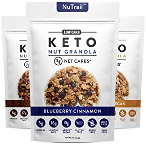 NuTrail™ - Keto Nut Granola Healthy Breakfast Cereal - Low Carb Snacks & Food - 3g Net Carbs - Almonds, Pecans, Coconut and more (11 oz) (Original Variety Pack)