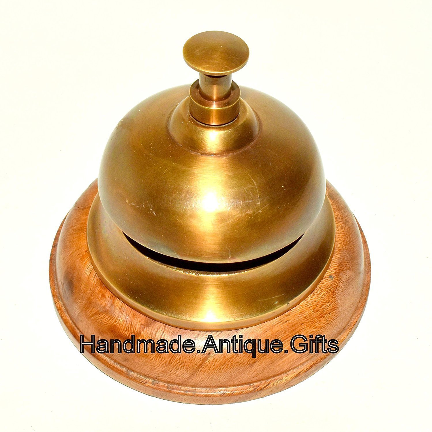 Hello Nauticals Store Hotel Bell, Italian Cast Brass, antique finish, wooden base 21lbg