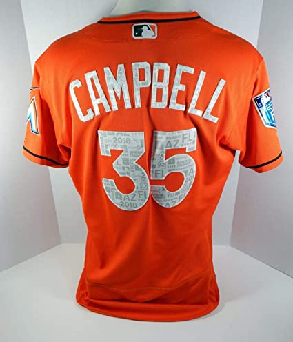 7b4baa6b8d89e7 2018 Miami Marlins Eric Campbell #35 Game Used Orange Spring Training Jersey  - Game Used MLB Jerseys at Amazon's Sports Collectibles Store