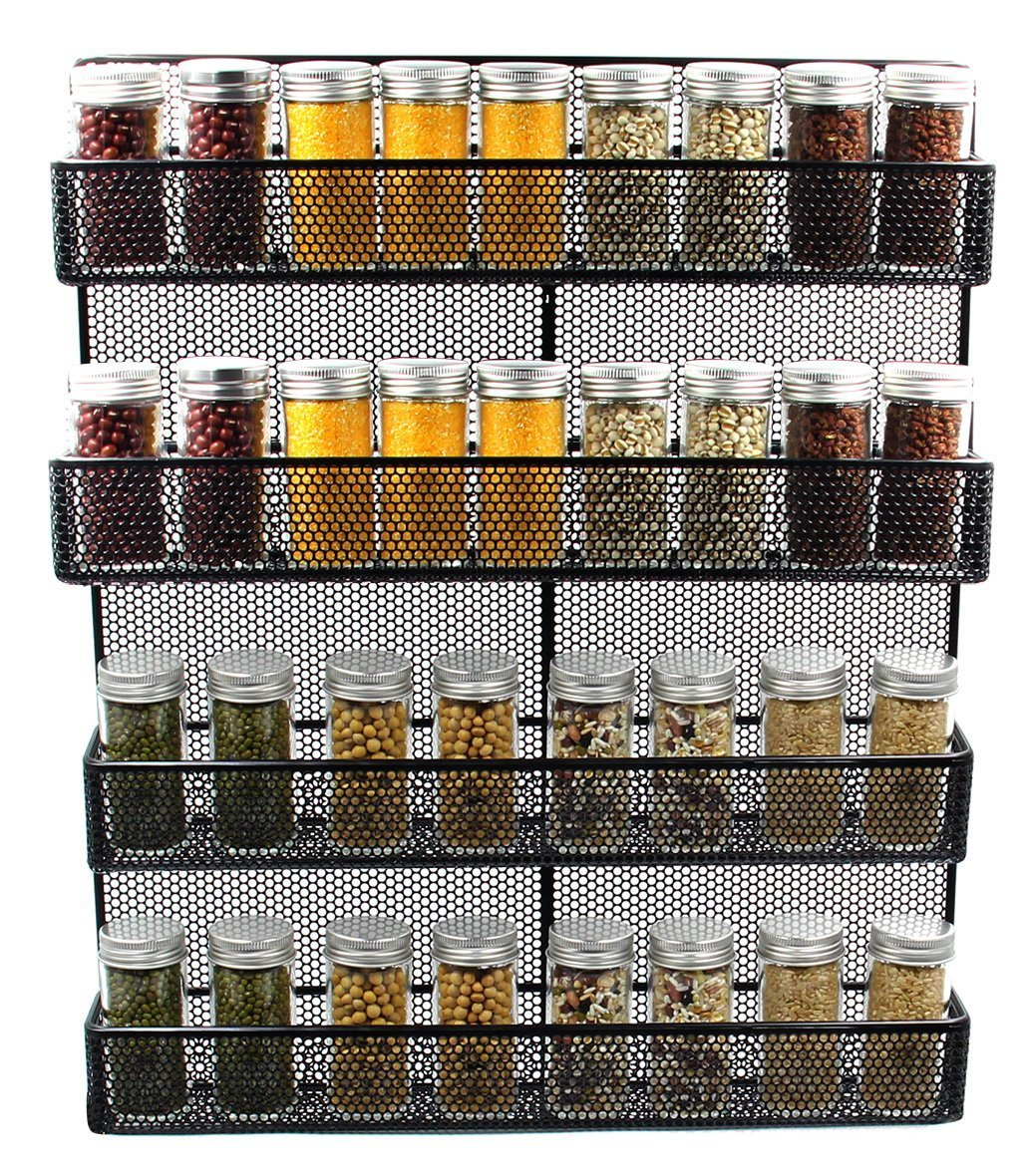 Amazon.com: ESYLIFE 4 Tier Large Wall Mounted Wire Spice Rack ...