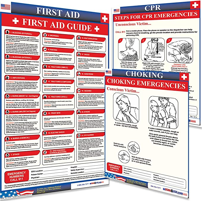 Osha4less First Aid Poster 990310 Presentation Boards Office ...
