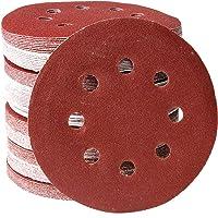 CCLIFE 100 Stuks 125mm Schuurpapier Schuurblad set Klittenband Schuurschijven   Korrelgrofte P80/P120   8 Gaats, Color…