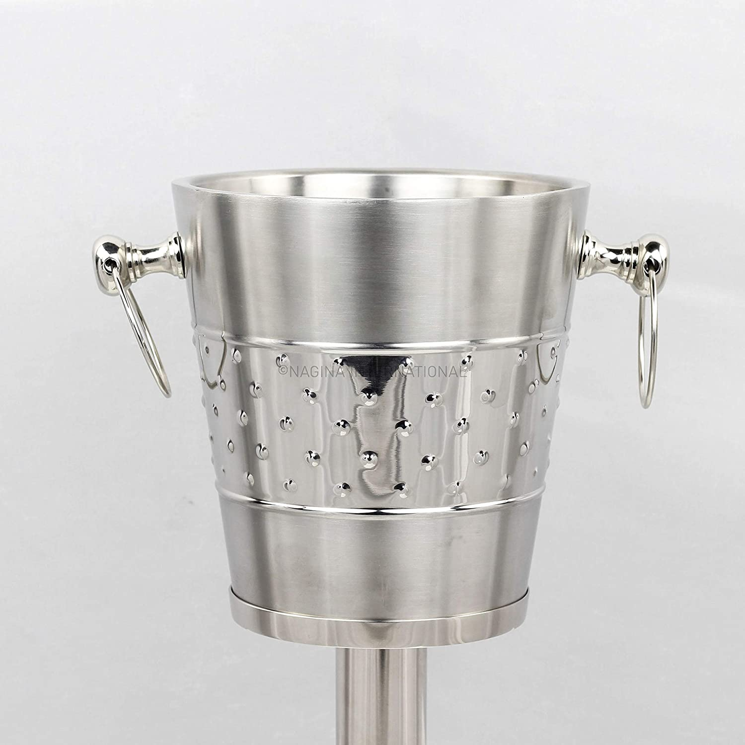 Wine Chiller On Stand Kitchenware Bar ware Indo-Persian Double Walled Insulated Brushed Nickel Plated Majestic Wine /& Ice Bucket With Steel Bucket Stand