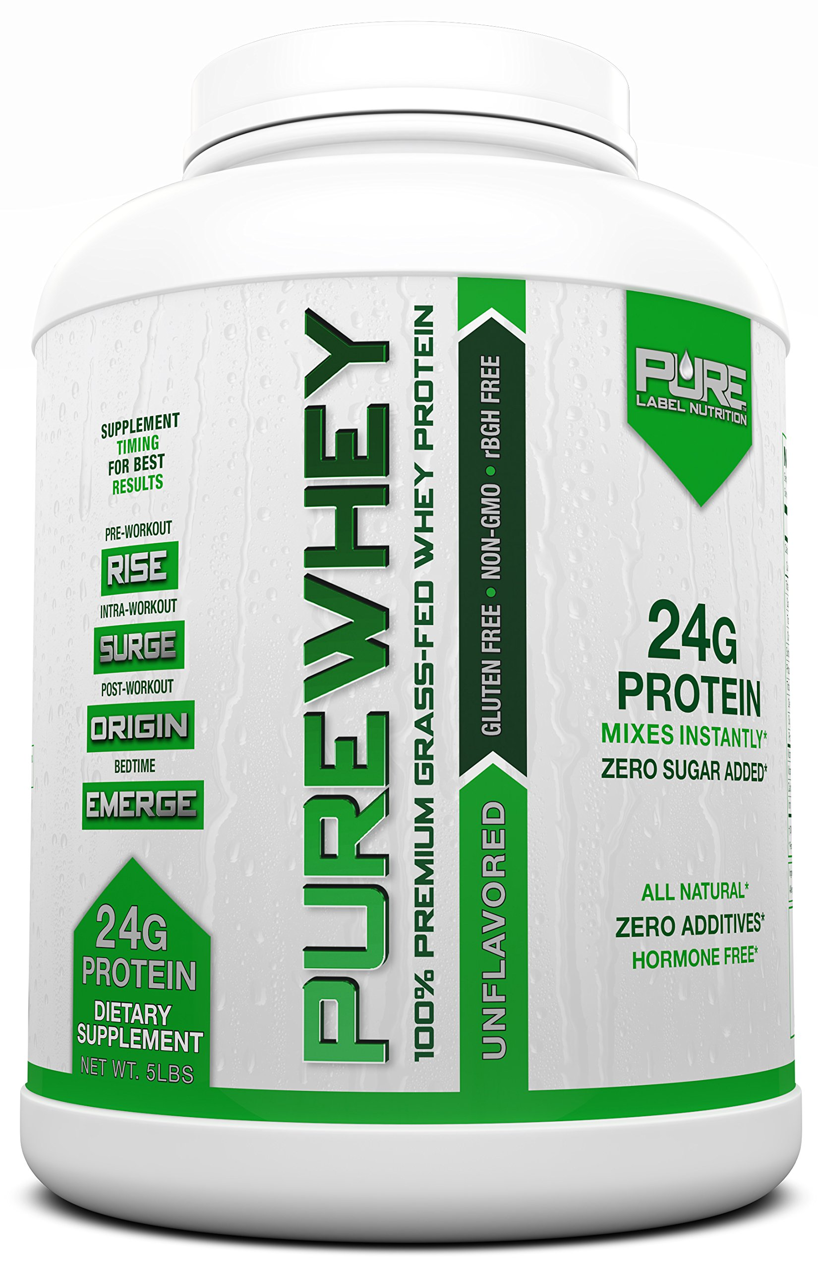 Grass Fed Whey Protein   5lb + Unflavored Whey from Grass Fed California Cows   100% Natural Whey w/ No Sweeteners or Added Sugars   rBHG Free + GMO-Free + Gluten Free + Preservative Free   PURE Whey