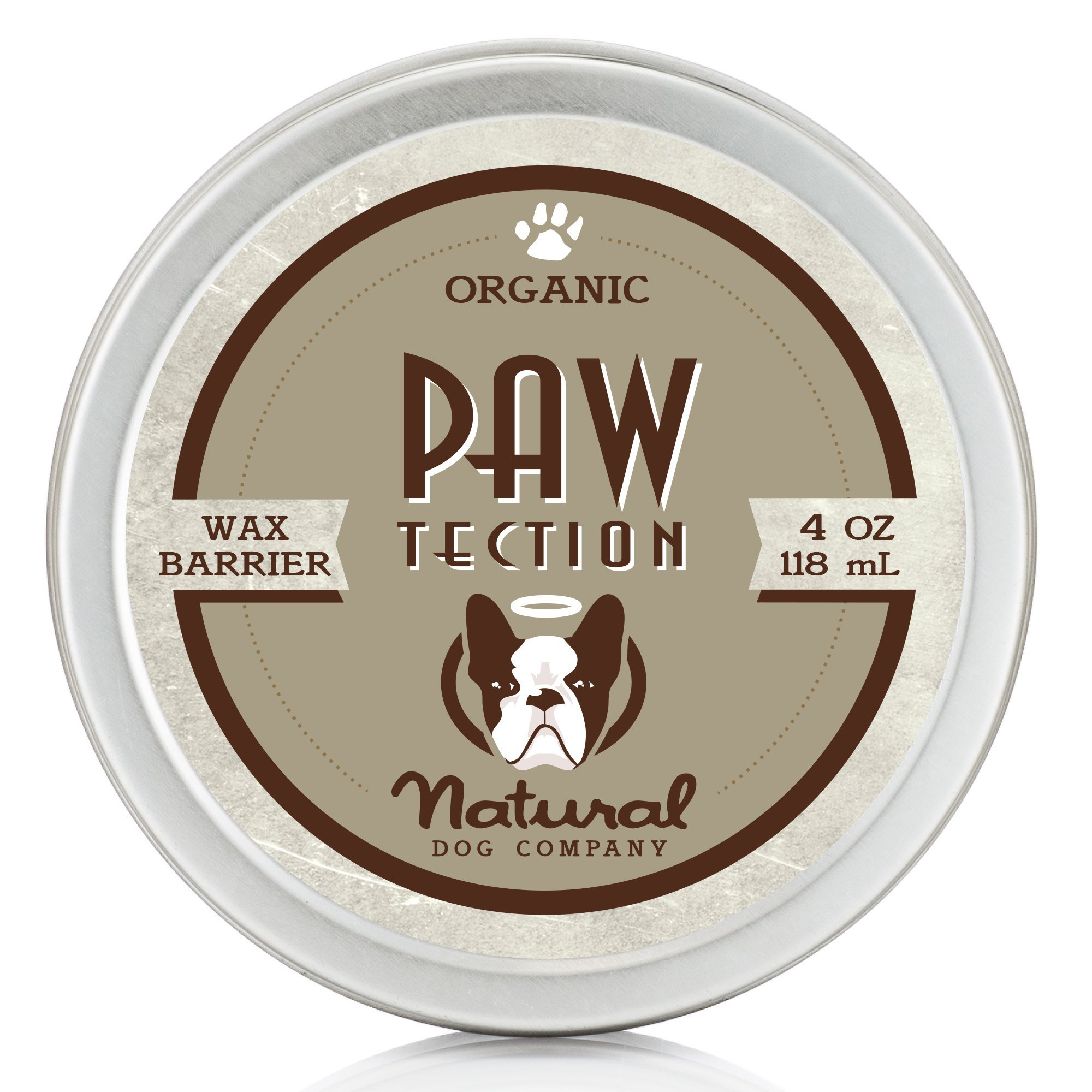 Natural Dog Company - PawTection | Protect Dog's Paw Pads, Perfect for Hot Asphalt, Salt, Snow | Organic, Vegan | 4 Oz Tin by Natural Dog Company