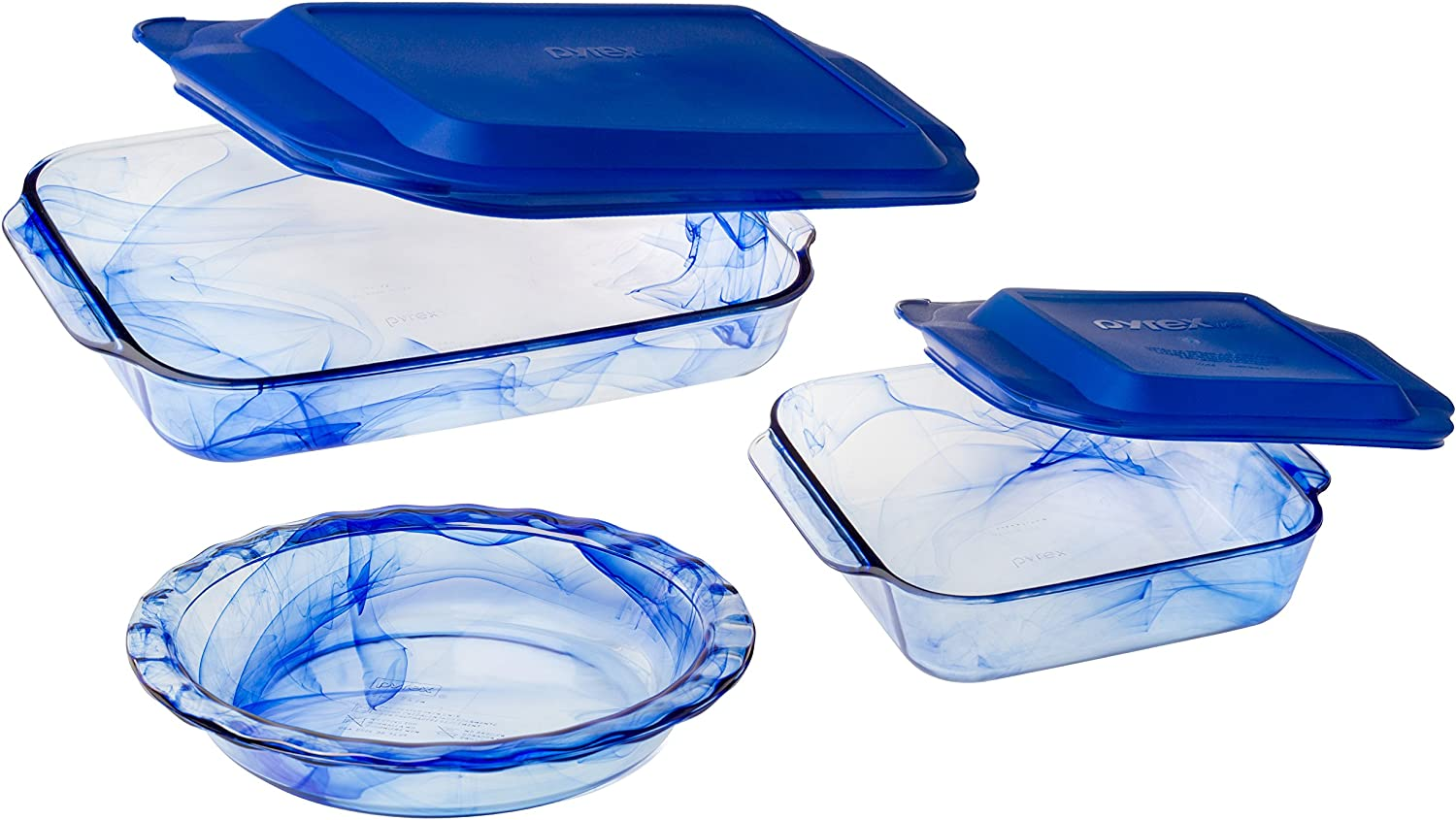 Pyrex 1127972 5 Piece Watercolor Collection Bakeware Set, Blue Lagoon