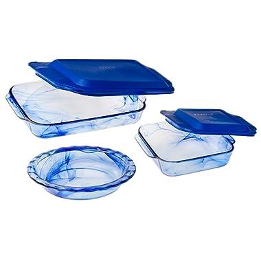 Pyrex 1127972 5 Piece Watercolor Collection Bakeware Set, Blue Lagoon